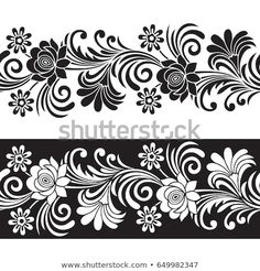 Find Seamless Floral Border stock images in HD and millions of other royalty-free stock photos, illustrations and vectors in the Shutterstock collection. Thousands of new, high-quality pictures added every day. Wall Stencil Patterns, Stencil Designs, Mehndi Designs, Border Embroidery Designs, Embroidery Motifs, Flower Pattern Drawing, Flower Patterns, Lace Tattoo Design, Cnc Cutting Design