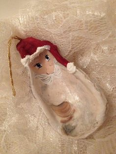 Santa Oyster Shell Ornament 6 Christmas Beach Decor by banelsonart, $9.25