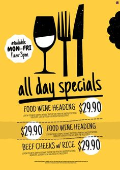 All Day Specials Poster. Customise your food & beverage offer graphics with pre-designed templates in Food Poster Design, Event Poster Design, Menu Design, Food Design, Flyer Design, Layout Design, Cafeteria Menu, Promo Flyer, Restaurant Poster