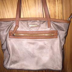Michael Kors Kempton Small Tote Tan small Kempton bag, good condition besides the handles! Awesome everyday bag Michael Kors Bags Shoulder Bags