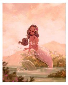 Mermaid illustration in soft pastel colors Fantasy Mermaids, Real Mermaids, Mermaids And Mermen, Mermaid Artwork, Mermaid Drawings, Mermaid Paintings, Siren Mermaid, Black Mermaid, Tattoo Mermaid