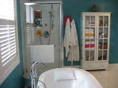 Simple Bathroom Renovation With White Bathup And Blue Wall Color ~ http://lanewstalk.com/do-it-yourself-basement-bathroom/