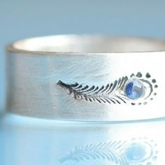 Peacock Feather Ring with Sapphire