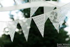 Lace Wedding Cakes Lace Bunting Pennant Banner lace bunting by TheGlitteredBarn - Lace Bunting, Wedding Bunting, Bunting Garland, Garland Wedding, Diy Wedding, Dream Wedding, Buntings, Garlands, Lace Wedding