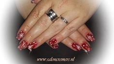christmas nails 2013 red with white nail art