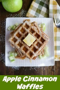 Apple Cinnamon Waffles are a delicious and savory way to kick up your family breakfast. Shredded apples add a touch of sweet to the savory waffle batter for a treat that's great for a crowd, freezer-friendly, and easy to make ahead #apples #cinnamon #grannysmithapples #applewaffles #freezerfriendly