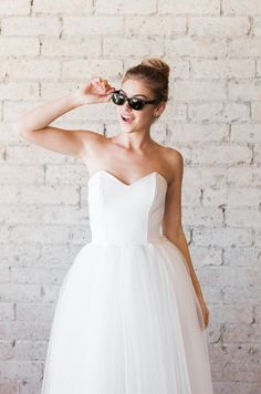 Tulle Sweetheart Strapless Tea Length Cotton and Tulle Party