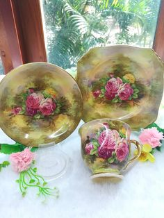 Rare Royal Winton Victorian Rose Tea set very beautiful and hard to find consist 2 trios tea cup one cake plate and one jug very good vintage condition overall have crazing as it signature from royal winton:)