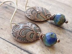 Paisley Etched Copper Earrings