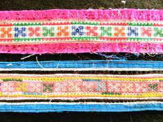 2 Hand Embroidered Trimming Strips from Thailand by VictoriasLace
