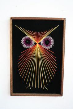Owl Black Velvet Framed String Art by showsomemoxie on Etsy, $22.00