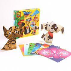 Créez des animaux en pliage grâce à ces papiers pré-pliés représentant des animaux rigolos et colorés.