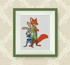 BUY 2, GET 1 FREE! Zootopia cross stitch pattern, Nick Wilde and Judy Hopps, pdf counted cross stitch pattern, Instant Download, P192 by NataliNeedlework on Etsy