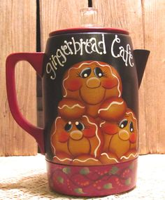 Gingerbread Hand Painted Small Electric Coffee Pot Kitchen Decor. $20.00, via Etsy.