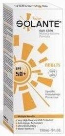 Güneşe karşı sahip olduğu güçlü ve geniş filtrelerle cilde koruyan,güneşin neden olduğu yaşlılık belirtilerine karşı anti age özellik gösteren #Solante #Güneş #Koruyucu #Krem Spf 50+ 150 ml ürününü kullanabilirsiniz.Diğer ürünler için www.portakalrengi.com adresini ziyaret edebilir detaylı bilgi edinebilirsiniz.