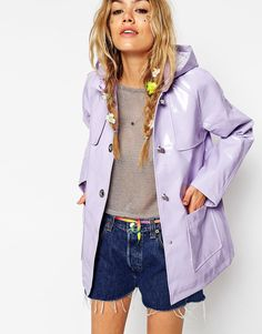 Image 1 of ASOS Rain Trench In Vintage Styling
