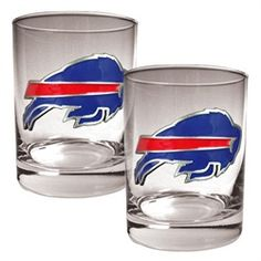 NFL Football rock glasses. This Buffalo Bills shot glass set comes with two rock glasses. These rock glasses are decorated with hand-crafted logos with a metal base with acrylic emblem inlay and hold