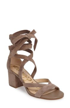 Sam Edelman flirty nude suede wraparound ankle ties enhance the breezy beauty of a bohemian sandal