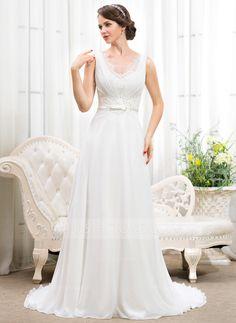 A-Line/Princess V-neck Court Train Chiffon Charmeuse Wedding Dress With Ruffle Lace Beading Sequins Bow(s) (002055921) - JJsHouse