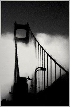 "Golden Gate Bridge Black and White "" by Vintage Works"