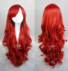 Red Wig Cosplay Wigs Curly Wigs for Women 32 inches Harajuku anime Long Costume Wigs with Side Bangs Christmas KARNEVAL Same-Day Shipping