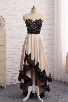 New beige satin high low lace homecoming dresses, prom dress for teens #vintagepromdresses