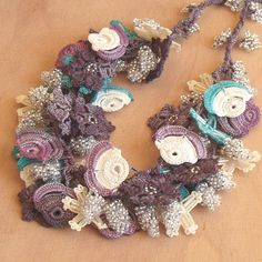 Turkish OYA Lace  Necklace  Crocheted Jewelry Wedding Bib