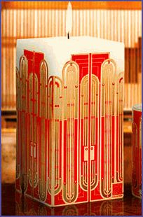Frank Lloyd Wright designs - Ever thought of decorating a big fat candle with quilling? Very inspirational.