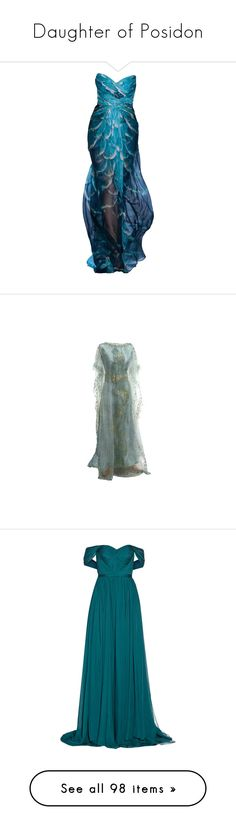 """""""Daughter of Posidon"""" by daughter-of-apollo92 ❤ liked on Polyvore featuring dresses, gowns, long dresses, vestidos, monique lhuillier evening gowns, blue gown, blue evening dresses, blue ball gown, off the shoulder long dress and blue dresses"""