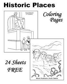Historic Places coloring pages - The Grand Canyon, Mount Rushmore, Hoover Dam and more!