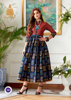 4cf6c7b5bb Shop Kajal Style Indo Western Kurtis Diva Vol 3 Online with the best price.  Flaunt latest styled cuts and look with these Indian Dresses, Give yourself  the ...