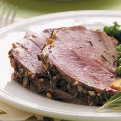 Roast Leg of Lamb with Rosemary - makes me think of my great-grandmothers lamb, LOVED hers! Super yummy! #tasteofhome #easterdinner