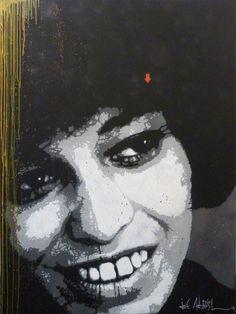 """-Jef Aérosol-  """"Angela Davis""""   (2013)    (Pochoir sur toile. 200 x 150 cm)"""