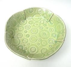 Medium Lime Green Textured Circle Handmade Ceramic Pottery Serving Bowl