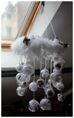idée mobile en boules transparentes garnies trop beau