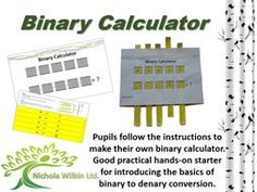 Computing teaching resource with this practical hands-on starter activity.  Pupils make their own binary calculator which is ideal for teaching them the basics of converting binary to denary / decimal numbers.   A computer science curriculum resource by Nichola Wilkin Ltd.