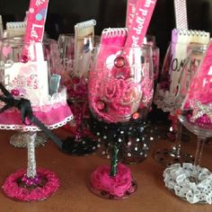 Bachelorette party favors...heeehee, doubt I'd take the time to put something this cute together, but I like the idea. =)
