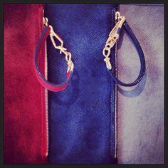 Zip pouch in fabulous hair calf FW14 Milan showroom presentation