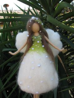 Christmas tree topper Needle felted Waldorf inspired Ornament Flower Fairy Lily of the valley