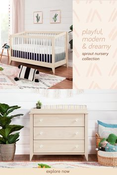 Bring a playful touch of mid-century modern design to your nursery with our Sprout Collection. Featuring a stylish convertible crib & versatile 3-drawer dresser, the collection is full of dynamic angles and craftsman-like details that bring the nursery to life. 3 Drawer Dresser, Drawers, Convertible Crib, Mid Century Modern Design, Sprouts, Cribs, Mid-century Modern, Nursery, Bed