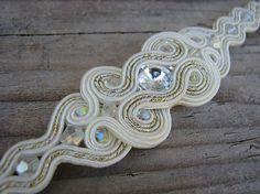 Ridgways / Vanilla/crystal 2 - náramok...soutache