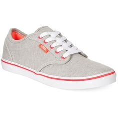 Vans Women's Atwood Low Lace-Up Sneakers Women's Shoes ($50) found on Polyvore featuring shoes, sneakers, skate shoes, laced shoes, vans shoes, canvas sneakers and vans footwear