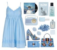 """""""Blue 2/3"""" by seetheotheroceans ❤ liked on Polyvore featuring Gucci, Topshop, Oliver Peoples, John Allan's, INC International Concepts, Essie, NARS Cosmetics and Blink"""