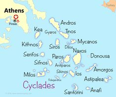 Cyclades Map - Start your Greek Island Hopping here!                                                                                                                                                                                 More