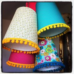 Pom Pom Trim Tapered Lampshade In Navy Floral