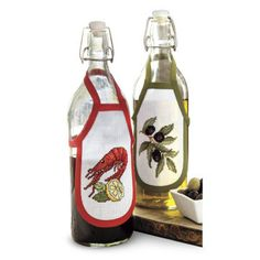 Olive Theme Bottle Aprons Set of Two Counted Cross Stitch Kit Stitch Kit, Aprons, Cross Stitch Patterns, Needlework, Bottle, Projects, Accessories, Bottles, Embroidery