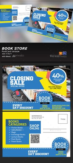 Book Stall Post Card - #Cards & #Invites Print Templates Download here: https://graphicriver.net/item/book-stall-post-card/20292645?ref=alena994
