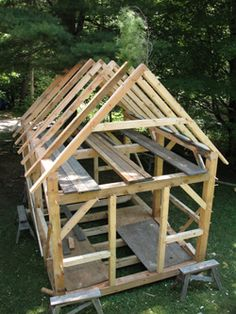 1000 images about workshop building features on for Timber frame cabin designs
