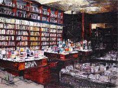 Massimo Giannoni è il primo fra gli artisti italiani a scegliere come soggetto librerie e biblioteche storiche che raffigurano e simboleggiano il sapere contenuto in modo stabile in libri e scaffali.