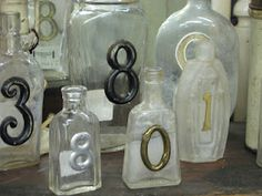 Cute: House numbers on old bottles